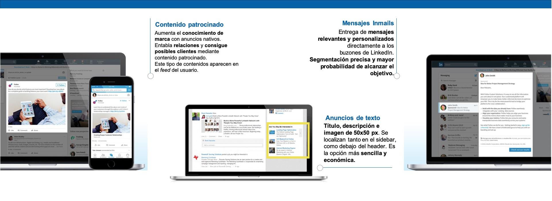 Ejemplos de inventario de contenidos de paid social en la red de Linkedin.