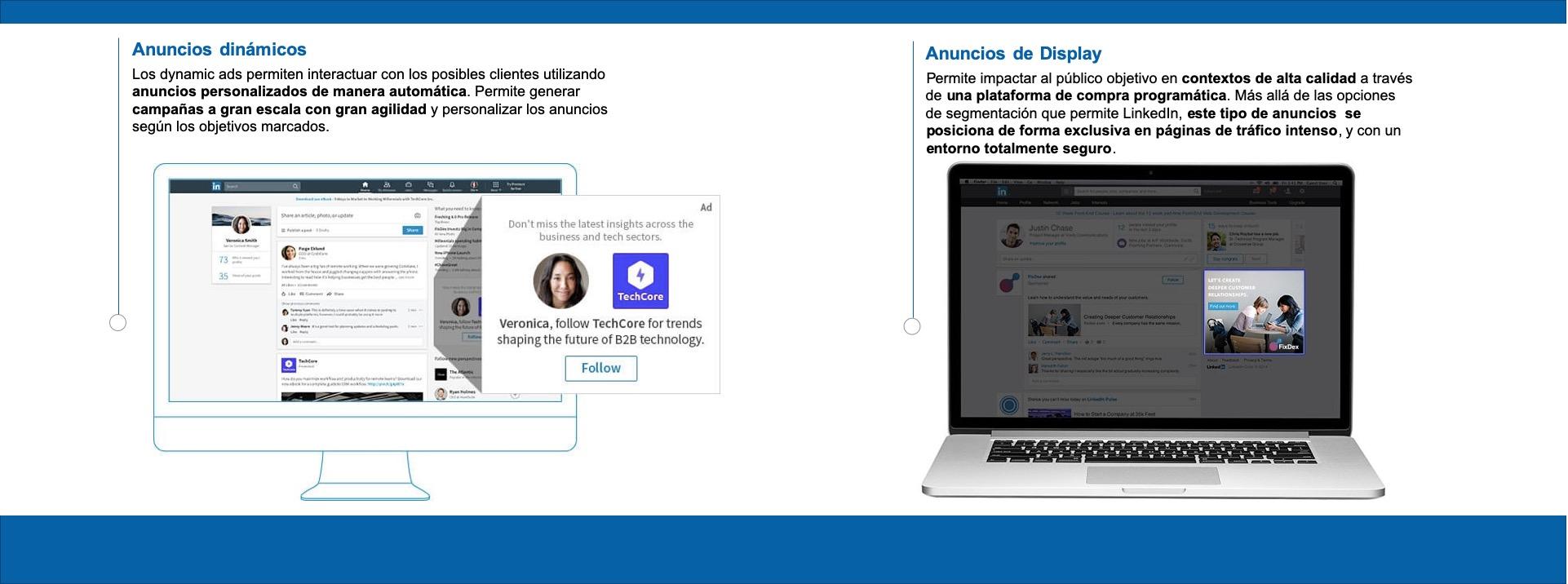 Ejemplos de dynamics ads y publicidad display en Linkedin.