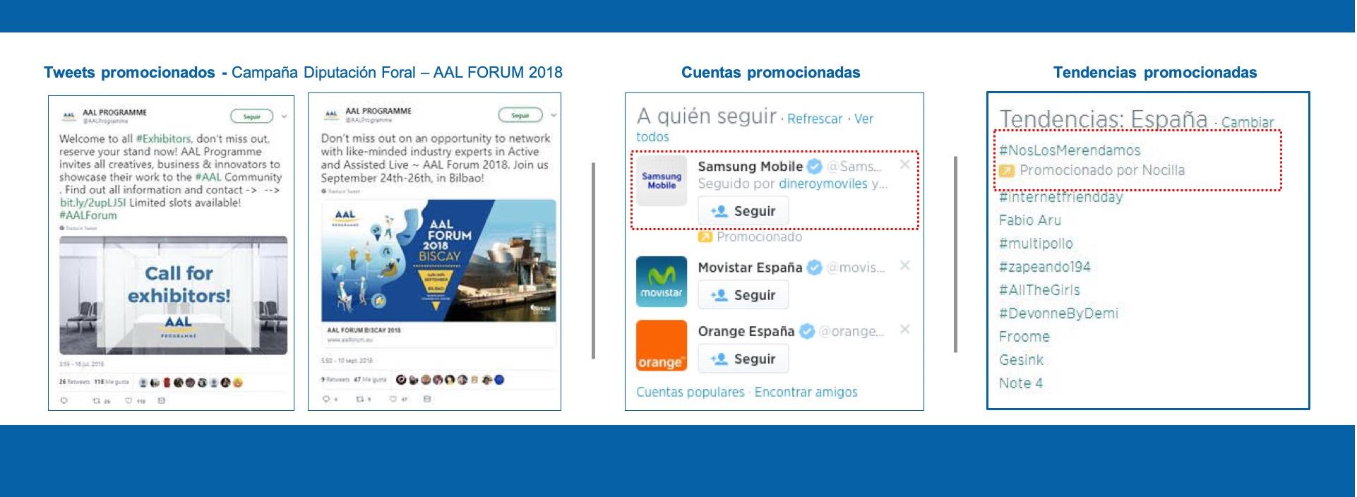 Ejemplos de campañas, tuits y cuentas promocionadas en twitter.