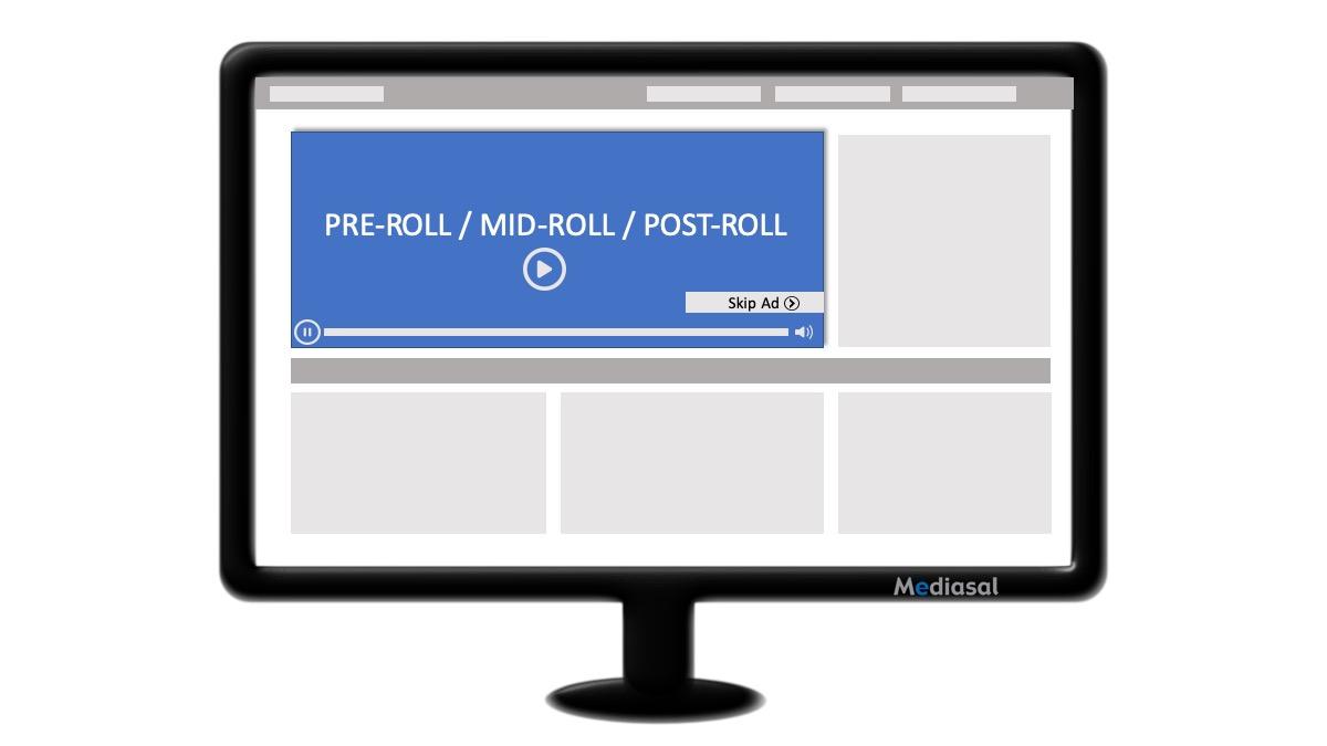 Imagen descriptiva formato pre-roll, mid-roll, post-roll.