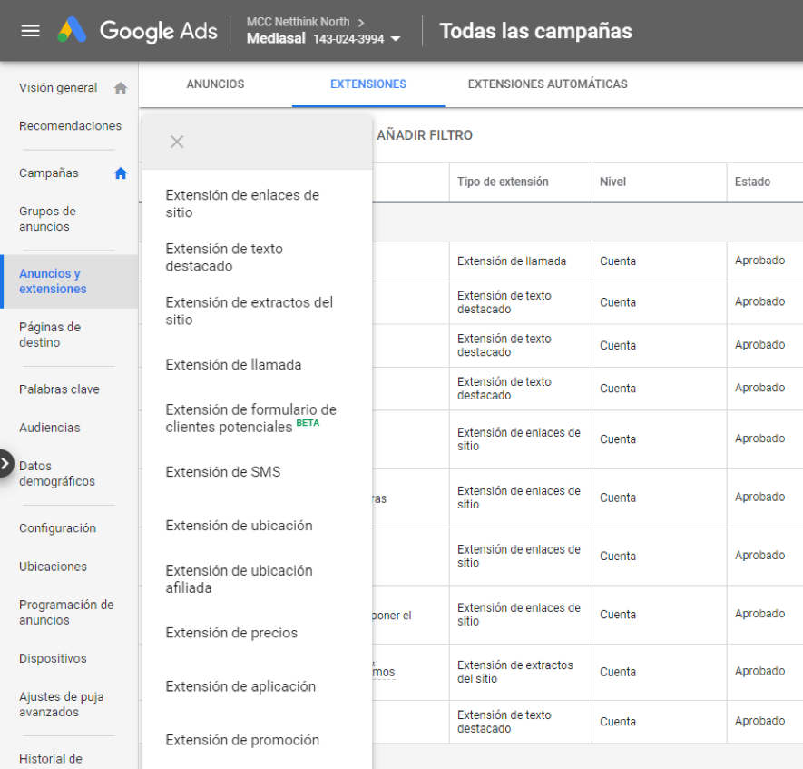 Menú de extensiones del dashboard de google ads.