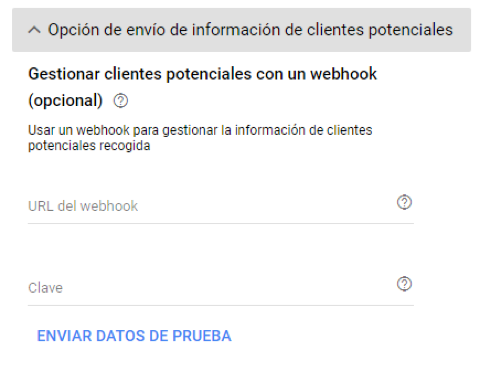 Menú extendido para la gestión de clientes a través de un webhook
