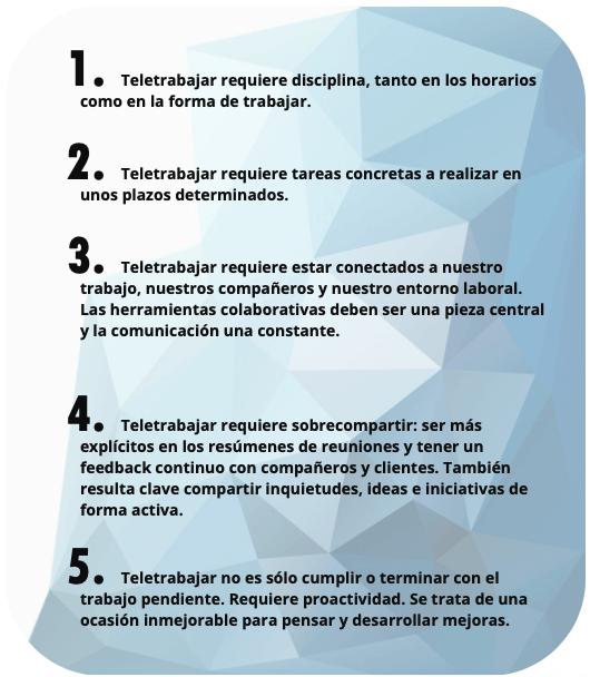 Listado de cinco claves para obtener un rendimiento alto a través del teletrabajo.