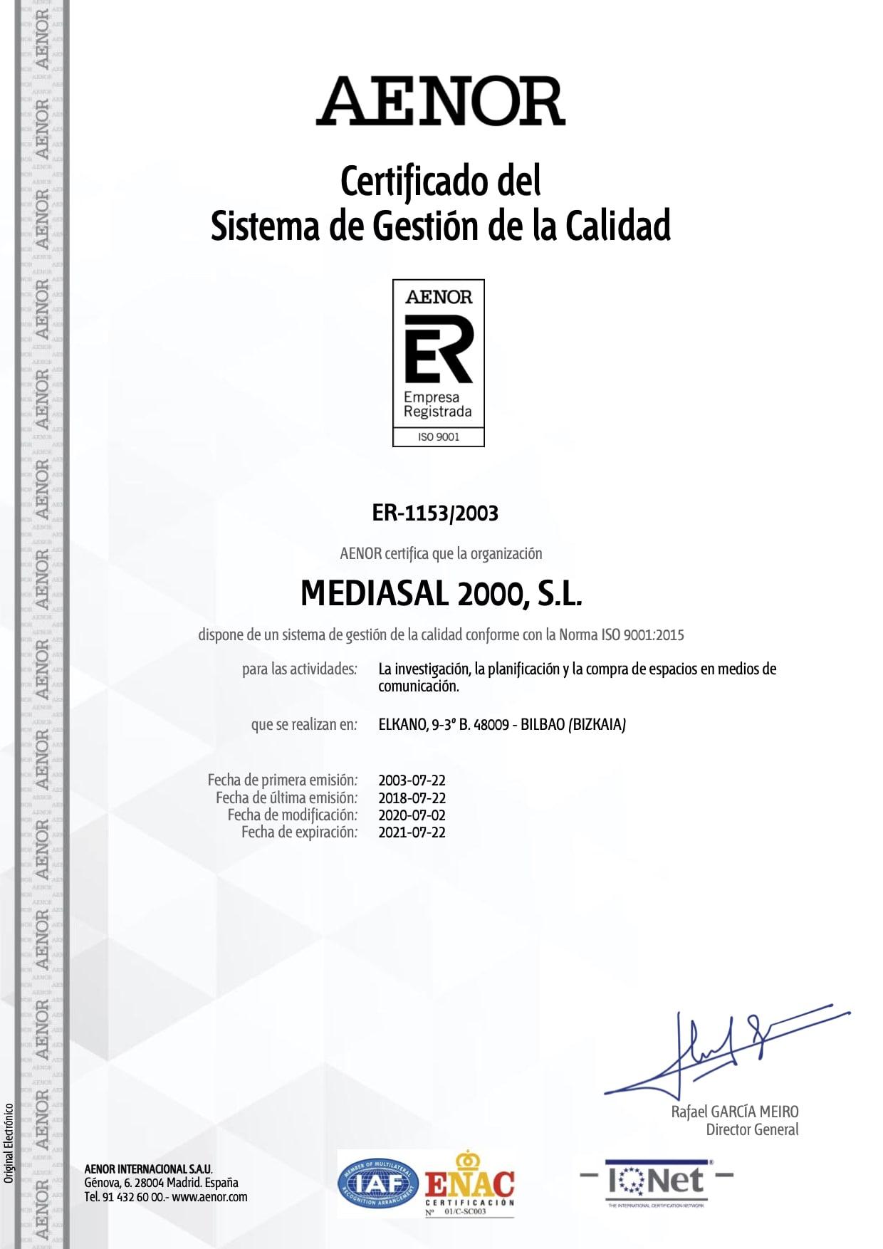 Certificado Gestion de la Calidad Mediasal