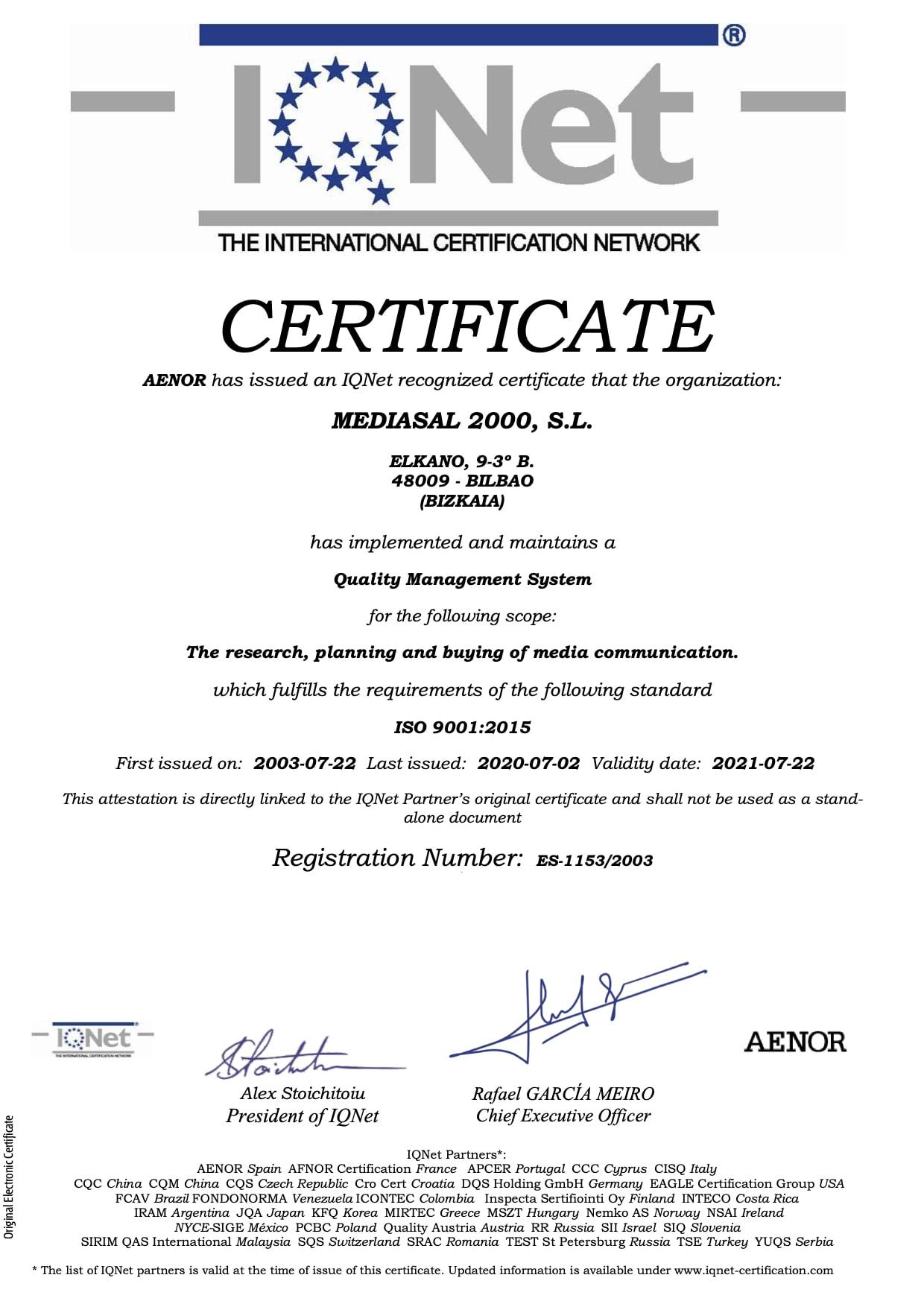 Certificado IQNet Mediasal