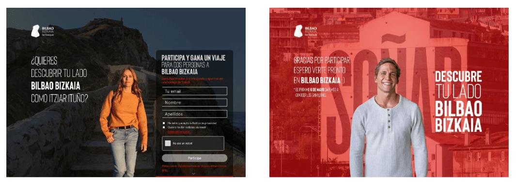 Landing pages de la campaña desarrollada para Bilbao Bizkaia Be Basque
